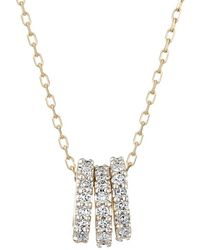 Adina Reyter - 14k Yellow Gold And Diamond Tiny 3 Pave Beads Necklace - Lyst