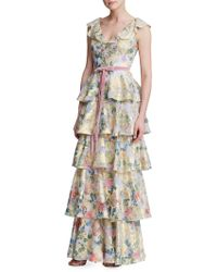 06a4a055 Marchesa notte Sleeveless Two-tone Ruffle Gown - Lyst