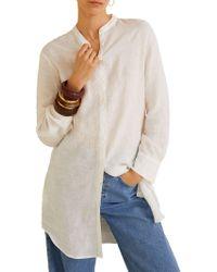 Mango - Mao Collar Linen Shirt - Lyst