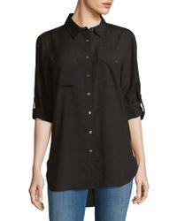 Calvin Klein - Roll-sleeve Tunic Blouse - Lyst