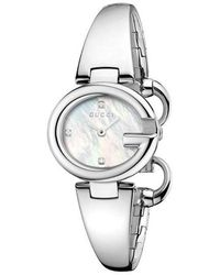 558d8bde6a8 Gucci Women s Stainless Steel Diamond Watch in Metallic - Lyst