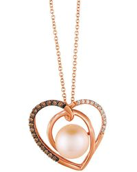Le Vian - Chocolatier? 9mm Strawberry Pearl? & Chocolate Diamond? Heart Pendant Necklace - Lyst