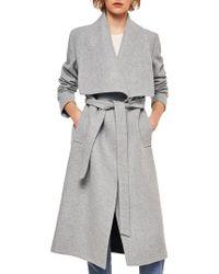 Mango - Belted Long Wool Coat - Lyst
