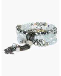 Lucky Brand - Grey Beaded Wrap Bracelet - Lyst