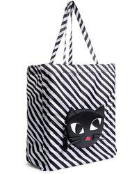 Lulu Guinness - Stripe Kooky Cat Foldaway Shopper - Lyst