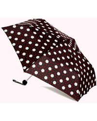 Lulu Guinness Red And Black Polka Dot Lips Umbrella - Multicolour