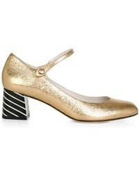 Lulu Guinness - Gold Grainy Leather Alexis Court - Lyst