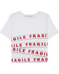 Lulu Guinness - Chalk Fragile Tape Tara T-shirt - Lyst