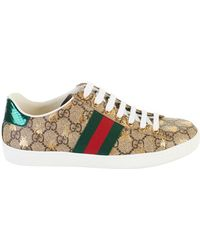 Gucci - Beige GG Supreme Bees Sneakers - Lyst