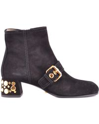 45314c0c137c82 Tory Burch Dorset Black Suede And Leather 85mm Bootie in Black - Lyst