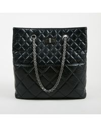 """Chanel - F11 Black Aged Calfskin """"reissue In The Business North South Tote"""" Bag - Lyst"""