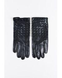 "Bottega Veneta | Black ""intrecciato"" Leather Gloves | Lyst"