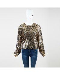 Tom Ford - Gold Silk Blend Sequin Embellished Ls Top - Lyst