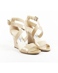 ab8c8907abb Lyst - Jimmy Choo Pepper Patent Leather Espadrille Wedge Sandal Nude ...
