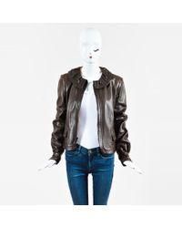 Fendi - Brown Leather Ruffle Collar Zip Front Ls Jacket - Lyst