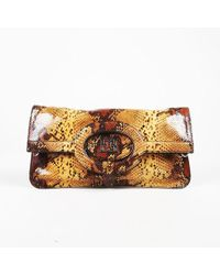ESCADA - Brown Stamped Snakeskin Leather Front Flap Shoulder Bag - Lyst