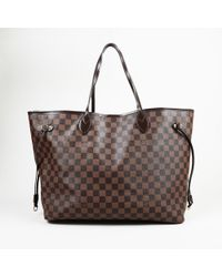 """Louis Vuitton - Damier Ebene Coated Canvas """"neverfull Gm"""" Tote - Lyst"""