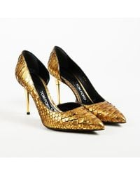 Tom Ford - Metallic Gold Python Pointed Toe High Heel Pumps - Lyst