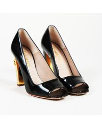 Chanel - Leather Open Toe 'cc' Pumps - Lyst