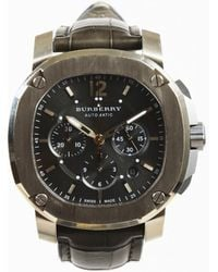 Burberry - Mens Gray Alligator Skin 18k Gold & Titanium Chronograph Watch - Lyst
