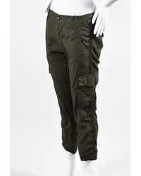 Bliss and Mischief - Olive Green Cotton Cargo Trousers - Lyst