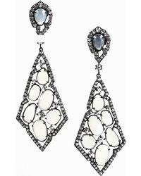 Unbranded - Moonstone & Diamond Sterling Silver Drop Earrings - Lyst