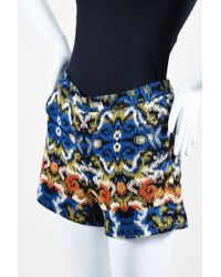 Andrew Gn - Nwt Blue Multicolor Jacquard Weave Shorts - Lyst