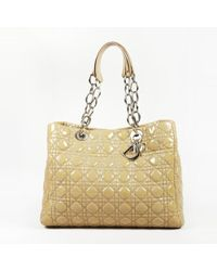 Dior - Beige Cannage Patent Leather Tote Bag - Lyst