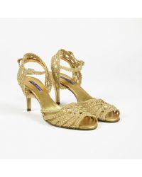 Ralph Lauren - Purple Label Metallic Gold Braided Strap Open Toe Sandals - Lyst