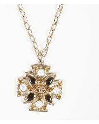 Chanel - Faux Pearl Gripoix 'cc' Pendant Necklace - Lyst
