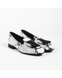 Max Mara - Snakeskin Print Leather Loafers - Lyst