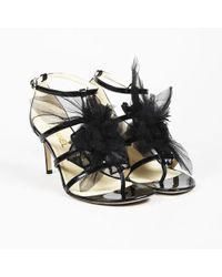 Chanel - Black Patent Calfskin Floral Applique High Heel Sandals - Lyst