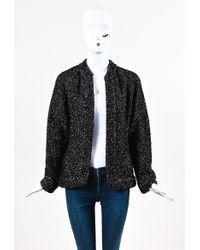 Chanel - 03a Metallic Brown Black Silver Alpaca Knit Ls Cardigan - Lyst