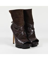Camilla Skovgaard - Brown Leather Suede Peep Toe Caged Ankle Boots - Lyst