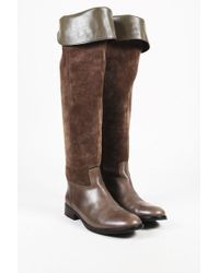 b68d1ac3358 Tory Burch - Brown Suede   Leather Fold Over Knee High Boots - Lyst