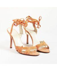 5be7b4b0aad57b Brian Atwood - Orange Suede Leaf Applique Open Toe Sandals - Lyst