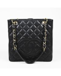 """Chanel - Black Quilted """"caviar"""" Leather """"petite Shopping Tote"""" Bag - Lyst"""