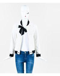 Chanel - White Cotton Eyelet Tweed Trim Bow Jacket - Lyst