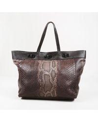 "VBH - Brown Python & Leather Trimmed ""large Shopper"" Tote - Lyst"