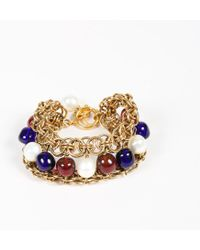 Chanel - Vintage Gold Tone Blue Red Faux Pearl Beaded Layered Chain Link Bracelet - Lyst