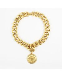Versace - Gold Plated Medusa Medallion Chain Necklace - Lyst