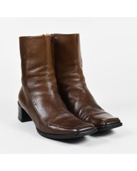 Hermès - Brown Grained Leather Square Toe Low Heel Boots - Lyst