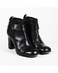Chanel - 2013 Leather 'cc' Ankle Boots - Lyst