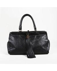 ESCADA - Black Grained Leather Fringe Tassel Shoulder Bag - Lyst