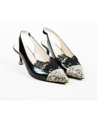 Dries Van Noten - Black & Beige Leather Snakeskin & Lace Slingback Pumps - Lyst