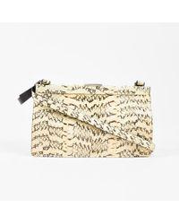 Miu Miu - Cream Black Genuine Snakeskin Top Frame Shoulder Bag - Lyst