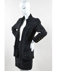 Chanel - Black Multicolour Speckled Tweed Long Sleeve Jacket Pencil Skirt Suit Set - Lyst
