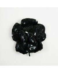 """Chanel - Vintage Black Sequin Embellished """"camellia"""" Brooch - Lyst"""