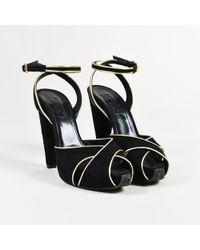 Giambattista Valli - Black Suede Gold Trim Peep Toe Platform Sandals - Lyst