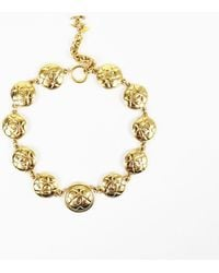 Chanel - Gold Tone Metal Quilted 'cc' Medallion Necklace - Lyst
